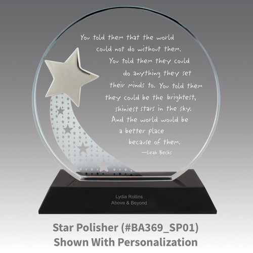 optic crystal base award with a silver star and star polisher message