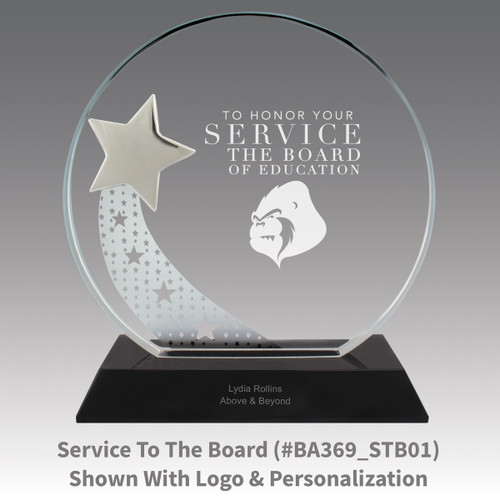 optic crystal base award with a silver star and service to the board message
