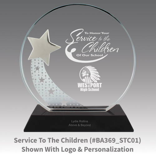 optic crystal base award with a silver star and service to the children message