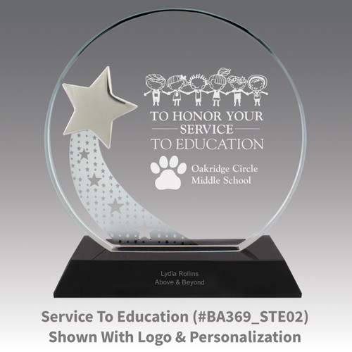 optic crystal base award with a silver star and service to education message