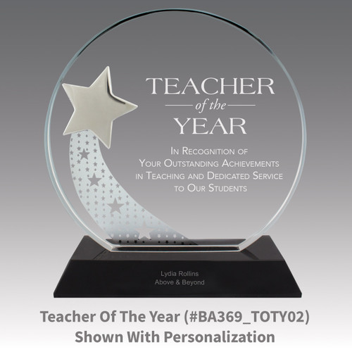 optic crystal base award with a silver star and teacher of the year message
