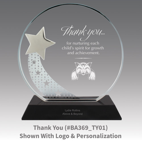 optic crystal base award with a silver star and thank you message