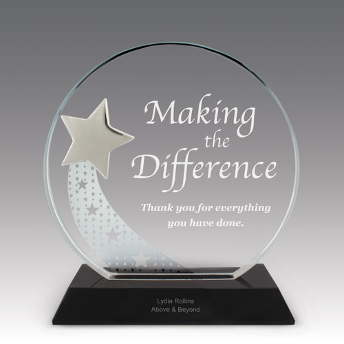 optic crystal base award with a silver star and making a difference message