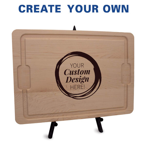 12x17 maple cutting board with juice well and grip handles featuring your custom logo