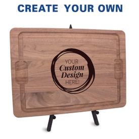 12x17 walnut cutting board with juice well and grip handles featuring your custom logo