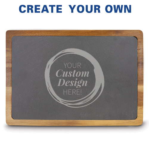 13x9 slate and acacia wood cutting board featuring your custom logo.