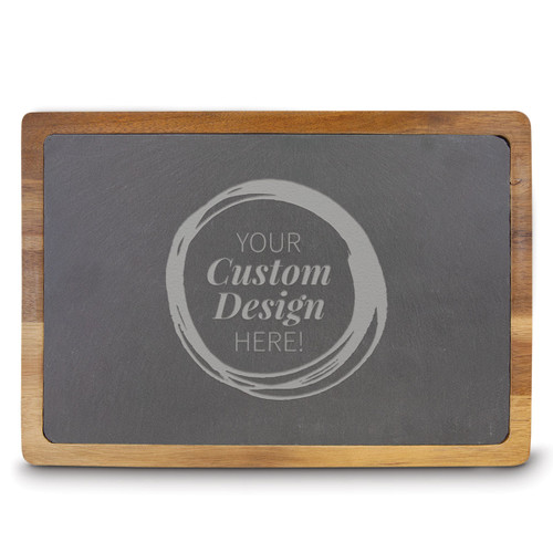 create your own rectangle slate and acacia wood cutting board