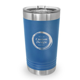16 oz. stainless steel tumbler with your custom logo or design. 9 colors to choose from.
