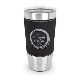 20oz. stainless steel tumbler featuring a richly textured leatherette wrap with your custom logo or design. 6 colors to choose from.
