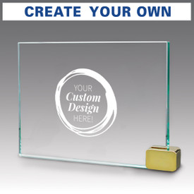 Hand cut premium jade glass with your custom logo. Includes chrome or brass metal rectangle holder.