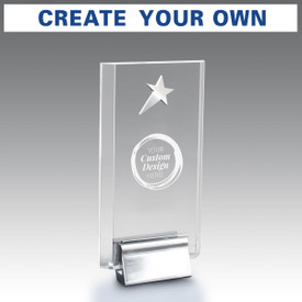 Acrylic tower award with your custom logo. Featuring a silver metal star and chrome metal base.