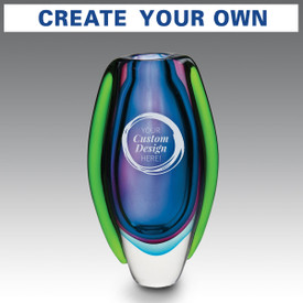Handblown art glass vase featuring your custom logo. Available in 2 colors.