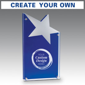 Astral acrylic award features a blue and clear freestanding panel attached by 4 chrome corner gromets and a mirrored acrylic star attached with your custom logo