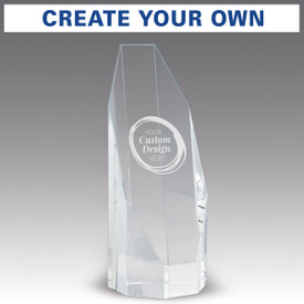 beveled optic crystal octagon tower with create your own option