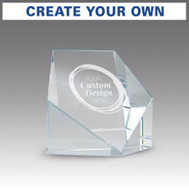 beveled optic crystal pentagon with create your own option