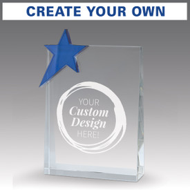 blue star optic crystal tower award with create your own option