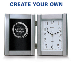 pewter framed clock with create your own option