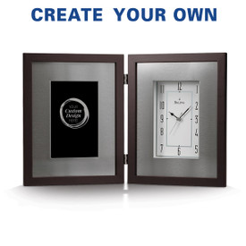 Bulova Large Framed Clock with brushed aluminum inner frame and espresso-brown solid wood outer frame. Includes custom artwork to display on the left side.