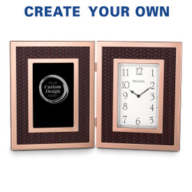 Bulova Large Rose Gold Framed Clock featuring embossed woven accents and your custom design
