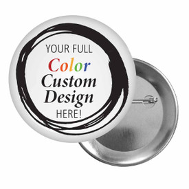 """1.75"""" Inch Button Featuring Your Full Color Custom Logo With Standard Pin-Back."""