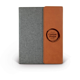 heather gray padfolios with black and rawhide accents and tiger logo