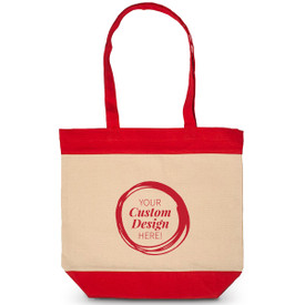 Canvas tote bag with rope handles and accent color strip down the center. Featuring your 1 color custom logo. Available in 2 colors.