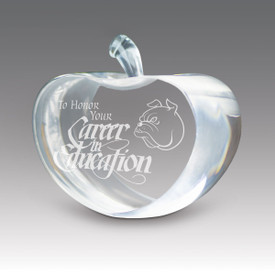 custom center cut crystal apple honor your service to the children design with mascot