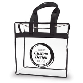 clear plastic bag with blue trim and handle with create your own design