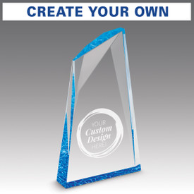 create your own option on an acrylic summit award with blue accent