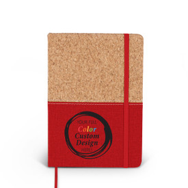 Compact cork journal with color accent, elastic privacy closure, and satin ribbon for bookmarking. Featuring your full color custom logo or design. 3 colors to choose from.