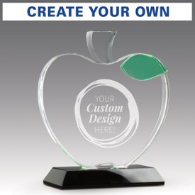 base award with optic crystal apple and green leaf with create your own option