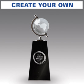 crystal globe sits atop a black crystal base with create your own option