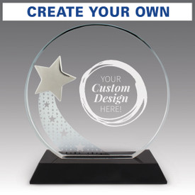 optic crystal base award with a silver star and create your own option