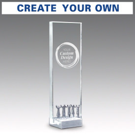Crystal tower award with metal accent and brushed aluminum base featuring your custom logo