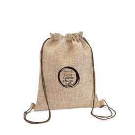 Durable & Stylish Drawstring Jute Backpack Featuring Your Full Color Custom School Logo Or Design On The Front
