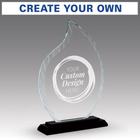 crystal flame base award with create your own option