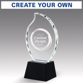 faceted crystal flame base award with create your own option