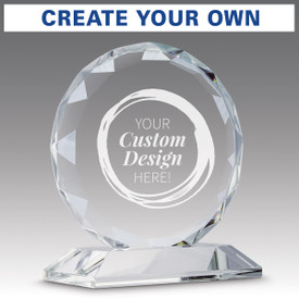 faceted circle optic crystal base award with create your own option
