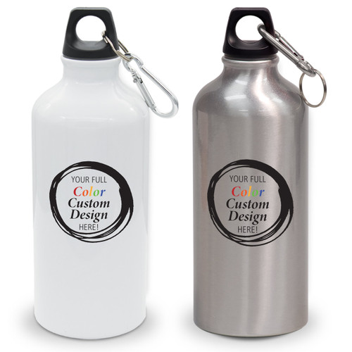 create your own white and gray 20 oz aluminum carabiner canteens