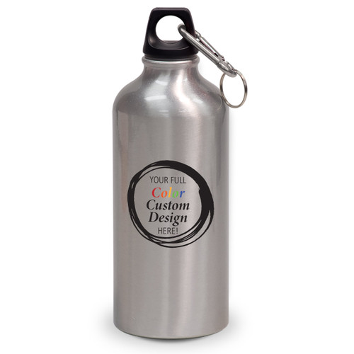 20 oz. aluminum carabiner canteen with your full color custom logo