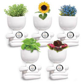 This People Planter Kit Features Your Custom Logo Or School Mascot On Wood Sign. 5 Seed Packets To Choose From.