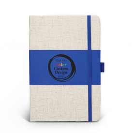 Heathered fabric journal with color accent, pen loop, and elastic privacy closure. Featuring your full color custom logo or design. 3 colors to choose from.