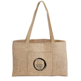 Durable & Stylish Jute Tote Bag With Pocket Featuring Your Full Color Custom School Logo Or Design On The Front.