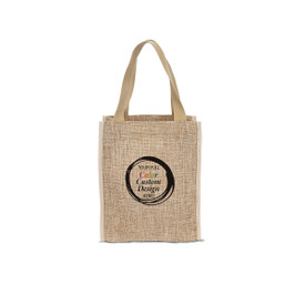 Durable & Stylish Jute Tote Bag Featuring Your Full Color Custom School Logo Or Design On The Front.