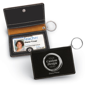 This custom keychain ID holder in black is made of a durable leatherette material and is the perfect functional gift for teachers.