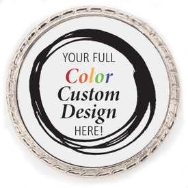 Kudo Coin Made Of Silver Metal With Rope Design Around The Outside. Featuring Your Custom Logo In Full Color.