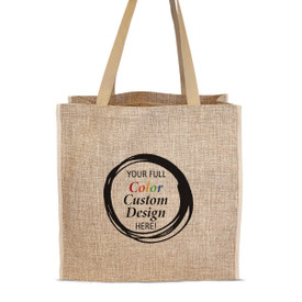 Durable & Stylish Large Jute Tote Bag Featuring Your Full Color Custom School Logo Or Design On The Front.