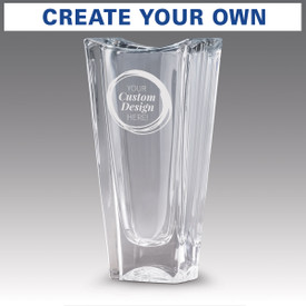 custom lasting impressions optic crystal vase showing where message with be etched