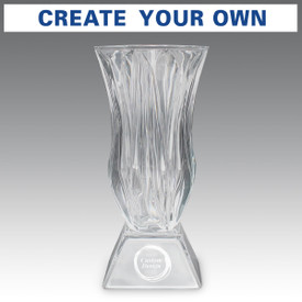 Legacy trophy crystal vase with attached base featuring your custom logo.