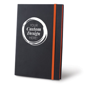Custom Matte Black Hardbound Journal with Blue Trim